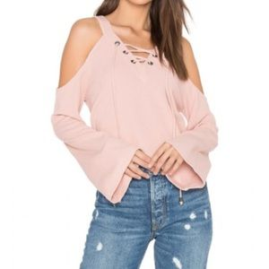 JOA cold shoulder cotton top